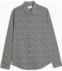 mens black and white ditsy floral print slim shirt