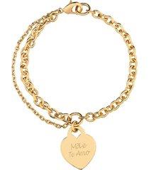 pulseira coração com nome personalizado banhado a ouro 18k
