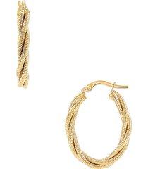 saks fifth avenue women's 14k yellow gold braided oval hoop earrings