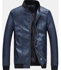 fodera da uomo resistente all'usura sottile giacca in pelle pu con colletto alla coreana casual da lavoro