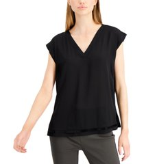 alfani knit-back cap-sleeve top, created for macy's