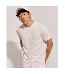 camiseta masculina básica pantone manga curta gola careca rosa claro