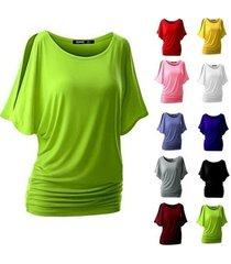 pink beauty women casual round collar bat short sleeve shirt pullover tops