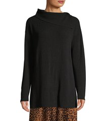 lafayette 148 new york women's asymmetric long-sleeve sweater - black - size xs