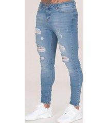 parche de agujero de rodilla lavado viejo de moda para hombre delgado jeans