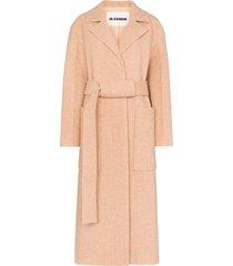 jil sander collared belted long coat - 296
