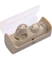 audífonos bluetooth manos libres inalámbricos, tws10 audifonos bluetooth manos libres  true mini auricular estéreo sin hilos con el zócalo de carga (oro)