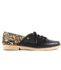 zapato de atadura negro combinado de mujer cosmos