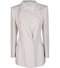 agnona white cotton-linen blend blazer