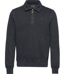 belmondo half-zip sweatshirt knitwear half zip jumpers blå morris
