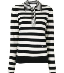 striped cashmere polo top