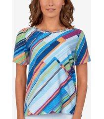 alfred dunner women's missy classics diagonal texture t-shirt