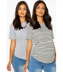 zwangerschap borstvoeding t-shirts (2 stuks), grey
