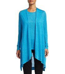 collection silk & linen longline open-front cardigan