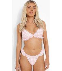 roze gingham tanga bikini broekje met franjes, pink