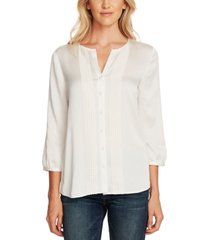 vince camuto rumple hammer satin lace-trimmed blouse