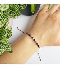szmaragd, lapis lazuli i ametyst bransoletka