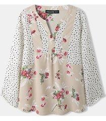 camicetta da donna con scollo a v a maniche lunghe con stampa a pois floreali