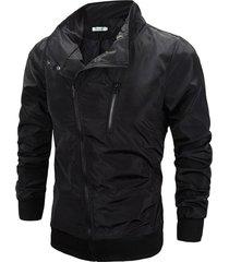 moda chaqueta cremallera inclinada a prueba de viento delgada capa de color sólido hombres camiseta