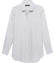 blusa parker tencel mini stripe blanco banana republic