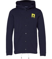 ams blauw hoody with press button closure in clean quality sweat-shirts & hoodies zip throughs blauw scotch & soda