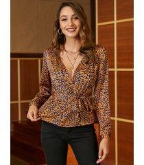 yoins naranja cinturón diseño blusa de satén paisley