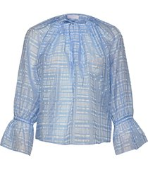2nd havana check blouse lange mouwen blauw 2ndday