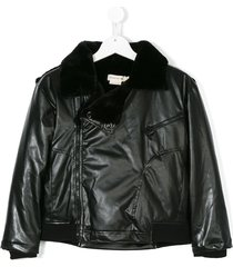andorine padded biker jacket - black
