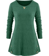 elbow patched mock button plus size long sleeve top