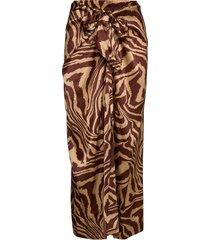 silk stretch satin lång kjol ganni