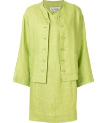 chanel pre-owned 1996's setup suit jacket one piece dress - green