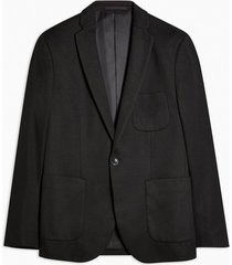 mens black single breasted skinny fit jersey suit blazer with notch lapels