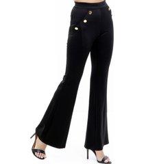 calça 101 resort wear flare botões cintura alta preta