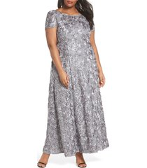 plus size women's alex evenings rosette lace short sleeve a-line gown, size 20w - grey