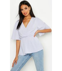angel sleeve peplum blouse, dusty blue