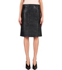 women's stella mccartney carly faux leather skirt, size 2 us - black