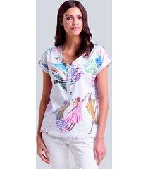 blus alba moda vit::flerfärgad