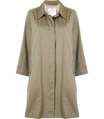 chanel pre-owned thigh-length shift coat - neutrals