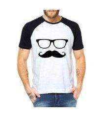 camiseta criativa urbana mustache engraçadas divertidas raglan
