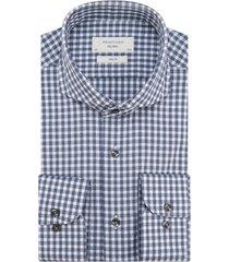 profuomo geruit overhemd blauw/wit