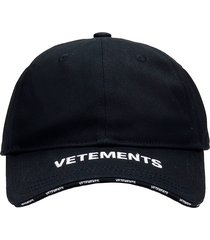 vetements hats in black cotton