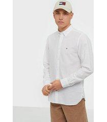 tommy hilfiger cotton linen twill shirt skjortor white