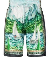 casablanca x browns 50 graphic-print bermuda shorts - green