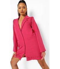 blazer jurk met metalen ringetjes, raspberry
