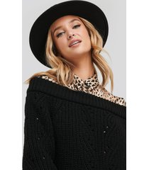 na-kd off shoulder pointelle knitted sweater - black