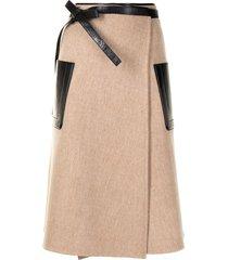 peter do buckle-fastening midi skirt - brown