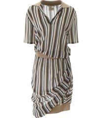 bottega veneta striped knit polo dress