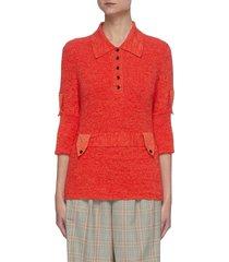 belted cotton rib knit polo shirt