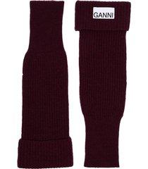 ganni ribbed-knit fingerless gloves - red