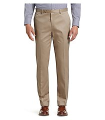 traveler collection tailored fit flat front twill pants by jos. a. bank